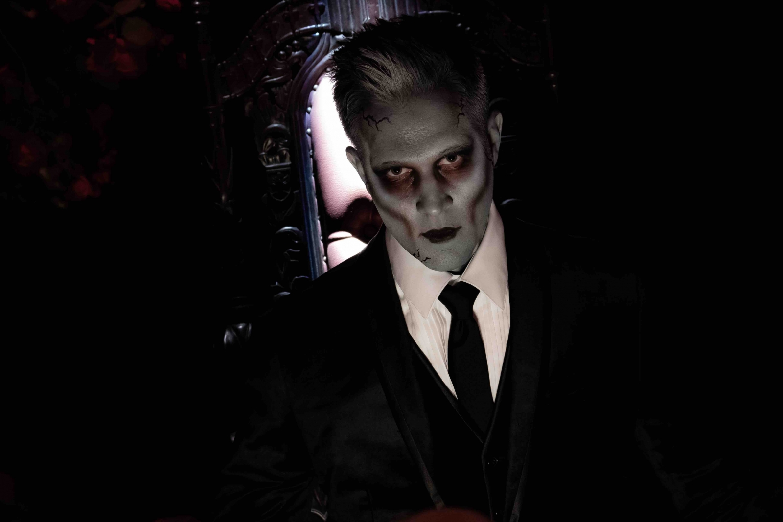Todd Reutter plays the vampiric butler at the Chateau every year at ValleySCARE. Courtesy Valleyfair.