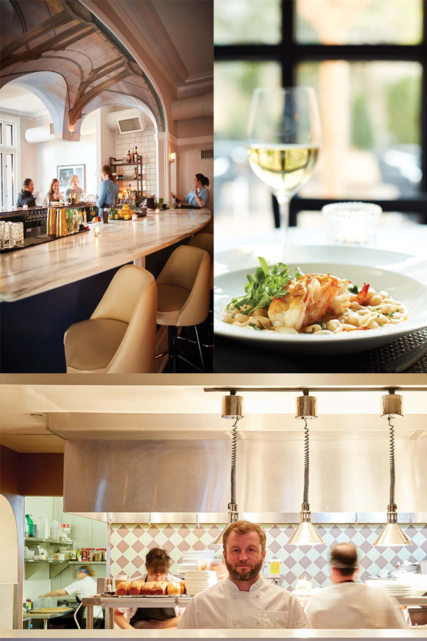 A collection of images. The top left is the bar at Bardo. The top right is the mixed grain risotto from Bardo, and the bottom picture is the kitchen at Bardo.