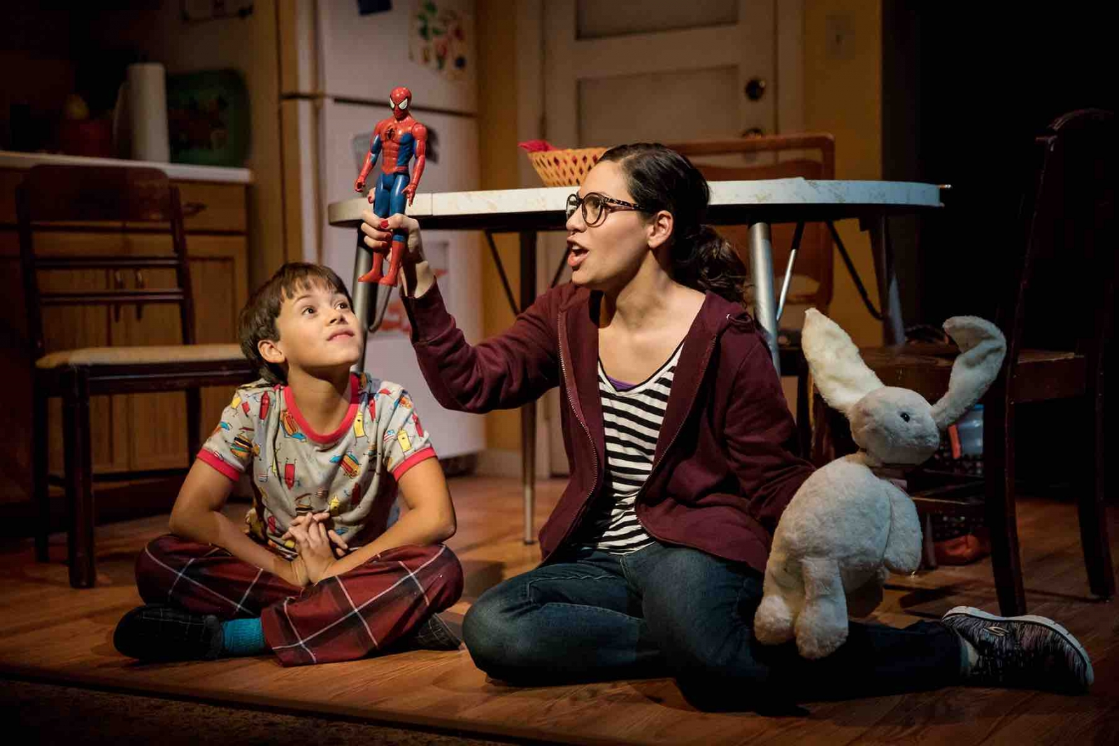 """Jesús (played by Luca La Hoz Calassara) and Gabi (Aysette Muñoz) in """"I Come from Arizona"""" by Carlos Murillos at the Children's Theatre Co. Photo by Dan Norman."""