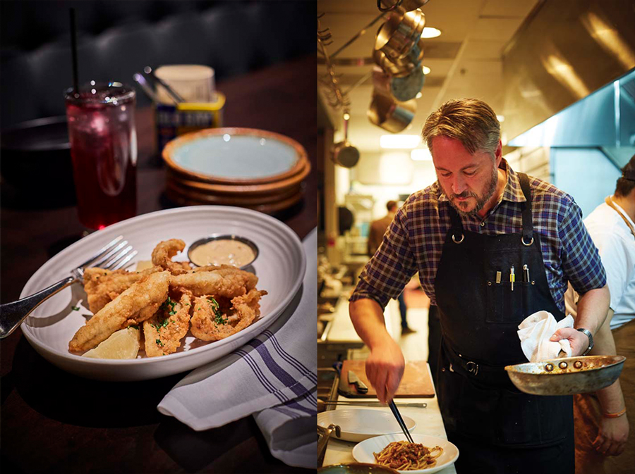 A mashup of two photos. The left one shows a plate of Shore Lunch Sunnies at Octo Fishbar, and the photo on the right shows Chef Tim McKee at Octo Fishbar.