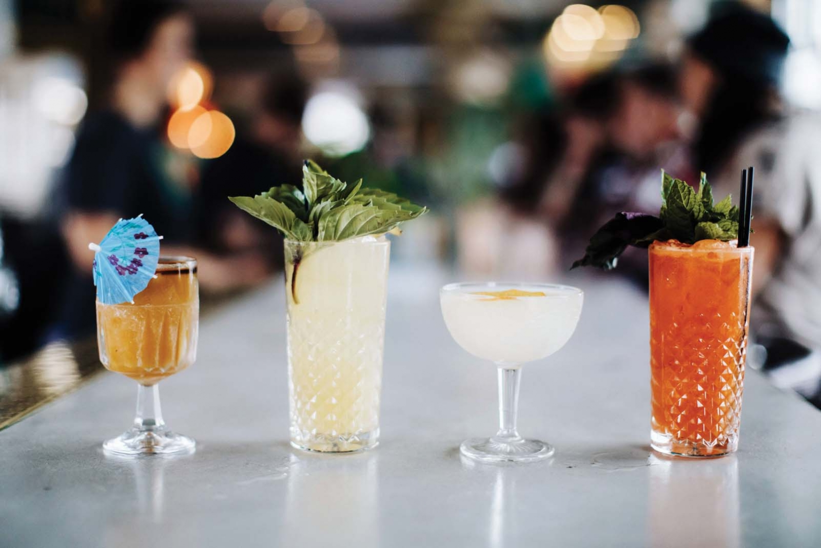 Cocktails with Southeast Asian kick (below, left to right):  Hai of the Storm, Next Up..., Lychee Keen, and Hai Thai.