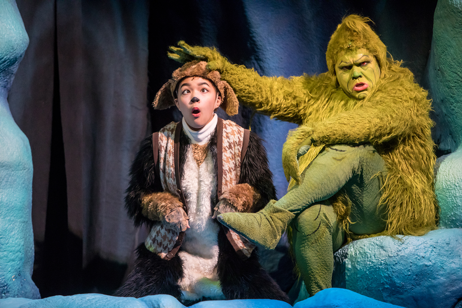Natalie  Tran  (Young  Max)  and  Reed  Sigmund  (The  Grinch)  in  Dr.  Seuss's  How  The  Grinch  Stole  Christmas  |  Photo  by  Dan  Norman