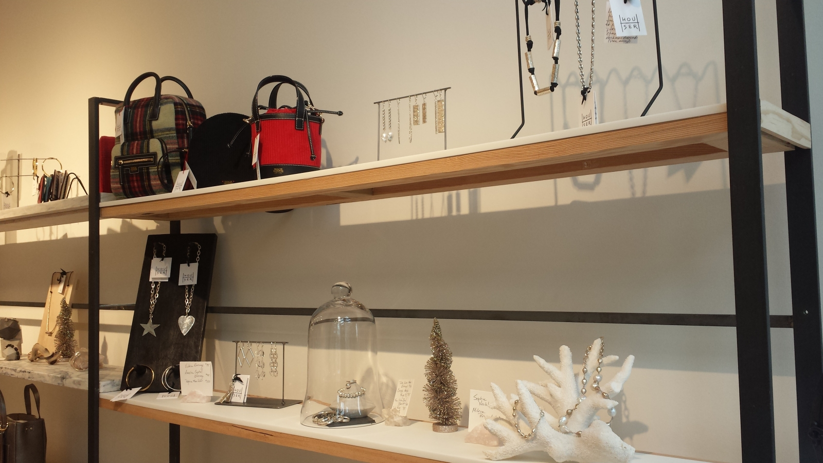 Frances Valentine bags and jewelry displays at Houser in North Loop. Photo by Lianna Matt.
