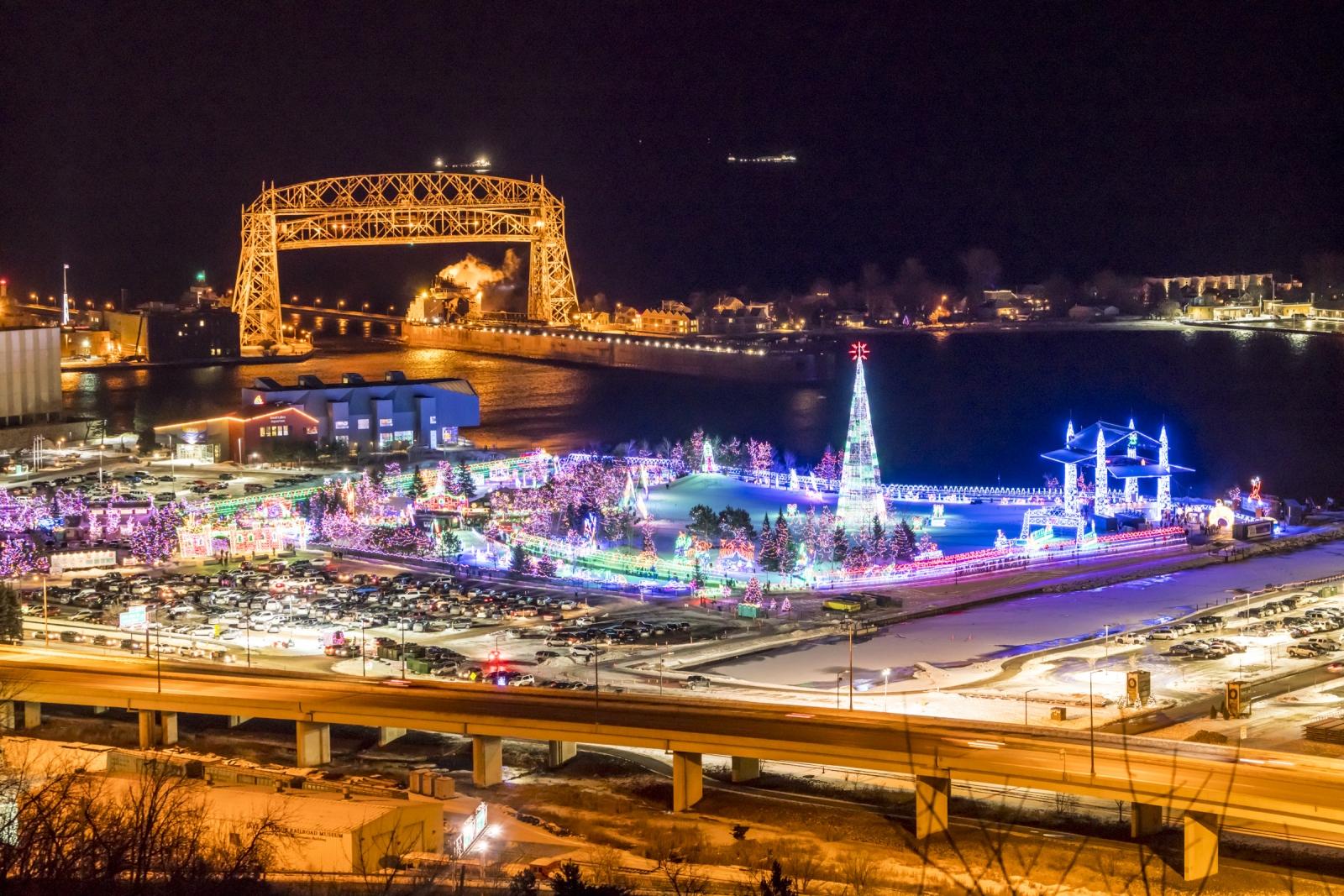 An overhead shot of Bentleyville all lit up in Bayfront Festival Park. Courtesy Visit Duluth.