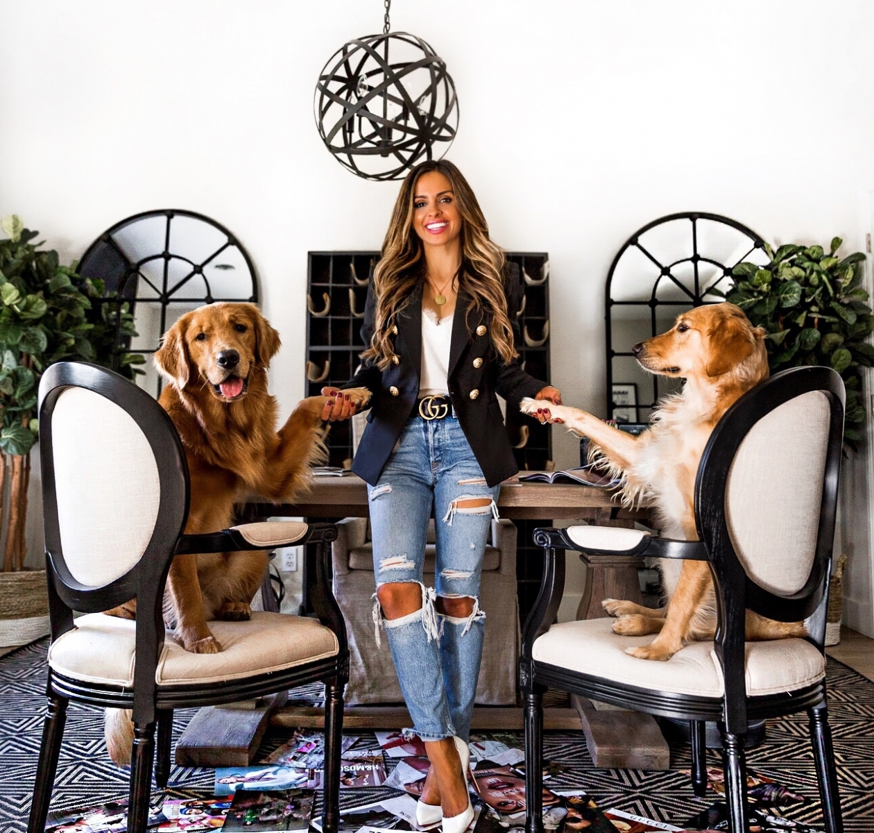 Maria Vizuete and her two dogs in her home office. Courtesy Maria Vizuete.