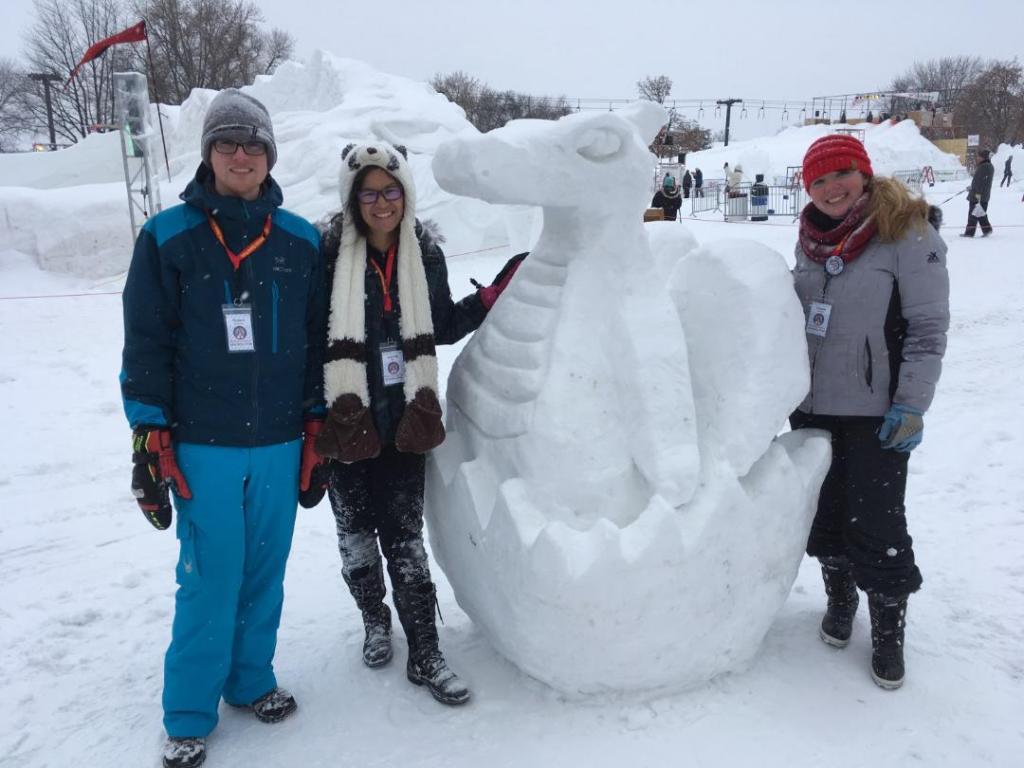 Robert McLernon, Lianna Matt, and Cassie Bauman at the 2018 Amateur Snow Sculpting Competition at the Vulcan Snow Park. Photo by Jeff Matt.