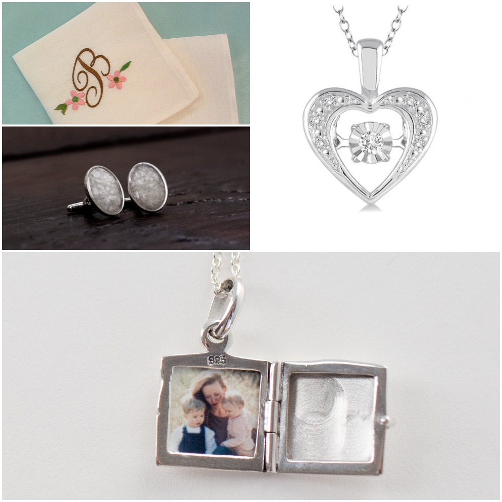 From above left, clockwise, courtesy W-S Embroidery, Arthur's Jewelers, The Locket Sisters, Urbain.
