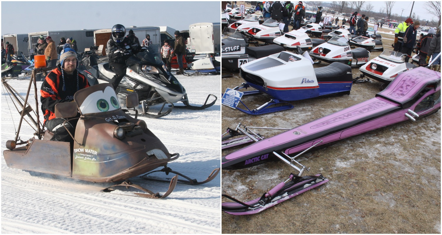 "Photos from the 2018 Ride-In include a Mater-styled snowmobile (from ""Cars"") and a long purple Arctic Cat."