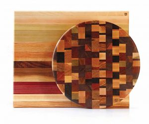 Each of Brian Wolff's one-of-a-kind cutting boards celebrates the natural beauty of the wood in dynamic, geometric patterns. His wife Melissa's jewelry line uses his sustainably sourced woodworking scraps ($70 and up, at Rose & Loon at Rosedale Center, wolffwoodworks.com).