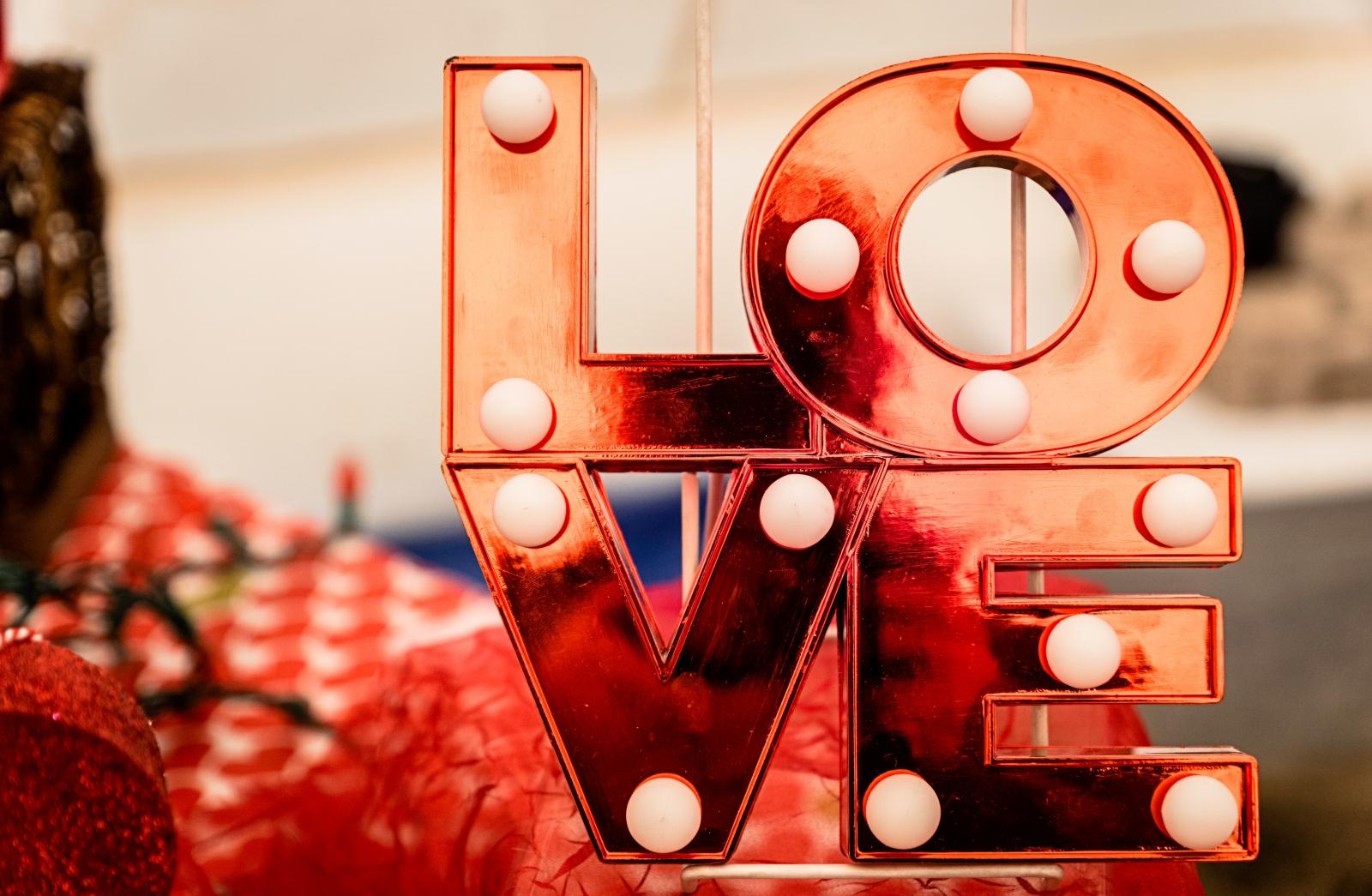 A lit-up LOVE sign. Photo by Jesse Doll.