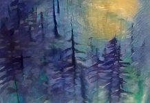 An indigo-tinted painting of evergreens.