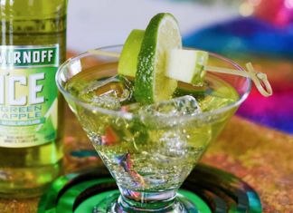Photo of a green vodka mixed drink