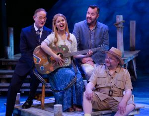 "During the number ""Thank You for the Music,"" Michael Gruber, John-Michael Zuerlein, and Jay Albright as Harry, Sam, and Bill, sing with Jessica Fredrickson (center) at Chanhassen Dinner Theatres' ""Mamma Mia!"""