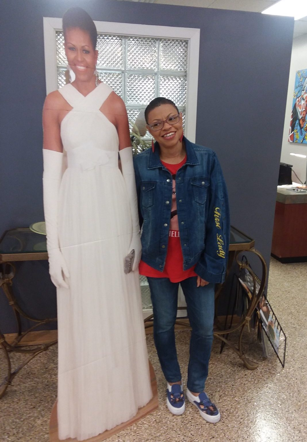 Sheletta Brundidge with (cardboard) Michelle Obama