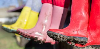 Close up of dirty rainboots in spring