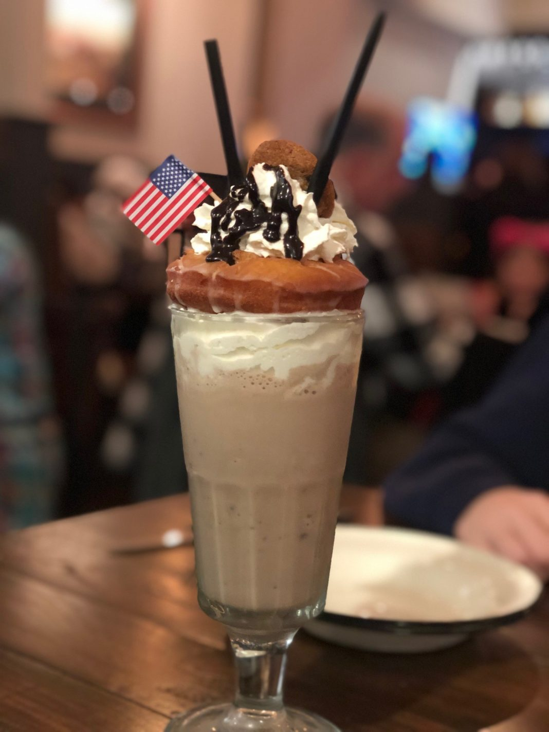 Cookie-dough ice cream, chocolate sauce, and bourbon, topped with a donut, whipped cream, a chocolate chip cookie, and chocolate sauce ($15)