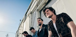 Electro-pop band Yam Haus photographed in downtown