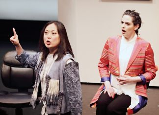 """Katie Bradley (whose character will be played by Kathryn Fumie in the final performance weekend) and Shana Eisenberg in """"Caught"""""""