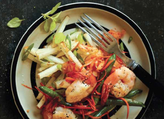 Ginger-Honey Shrimp plated