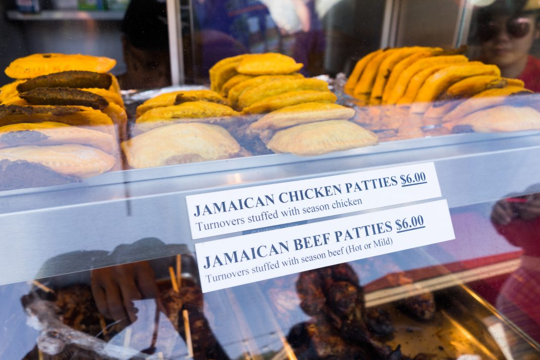 Jamaican chicken and beef patties at West Indies Soul Food