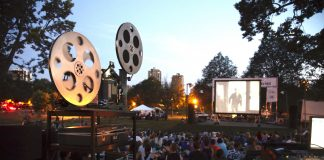 """Loring Park, participating in the Movies in the Park summer movie series, featuring Paul Newman in """"Hud"""""""