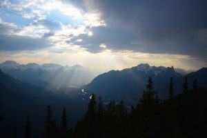 The view from the top of Sulphur Mountain, accessible by hike or gondola.