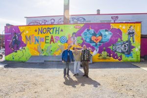 The mural by Tats Cruller at the Skate-able Art Plaza at Juxtaposition Arts
