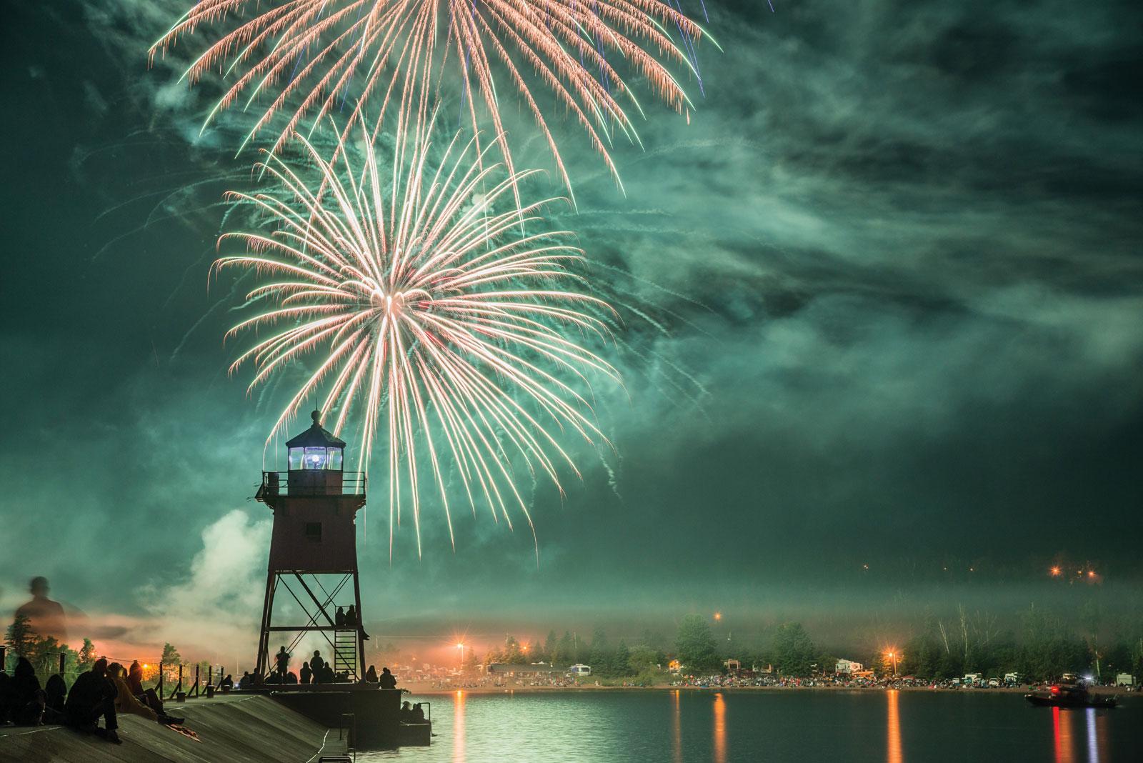 Fireworks over the Grand Marais lighthouse