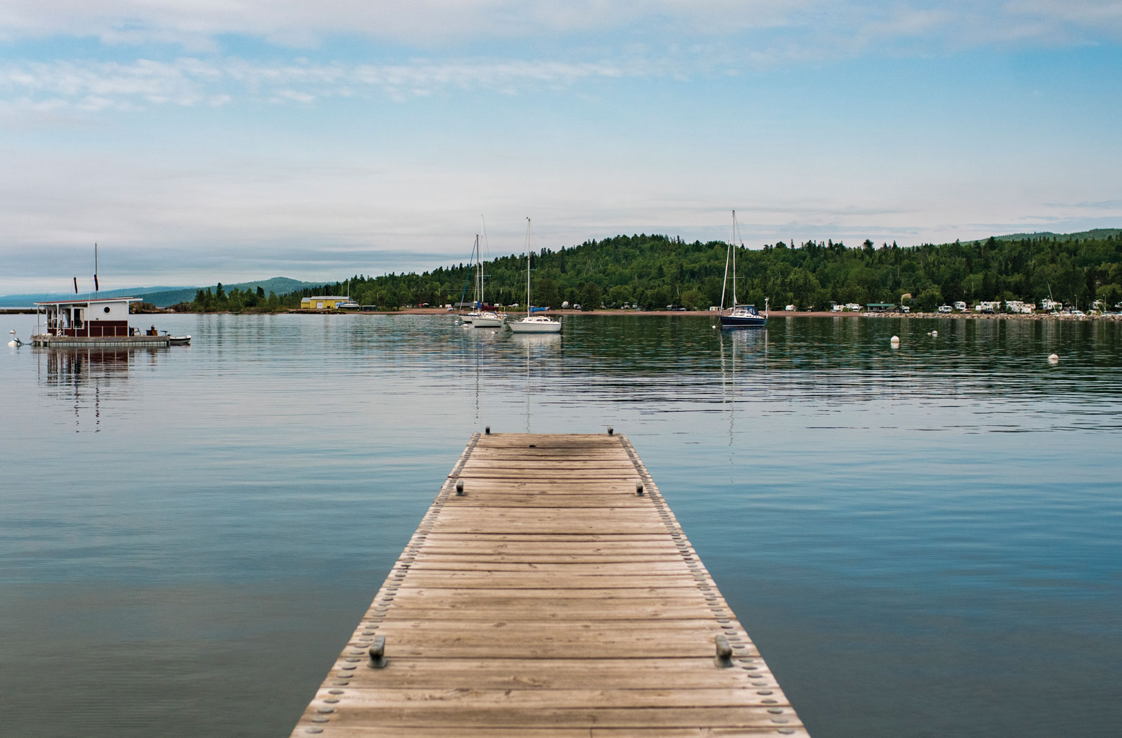 A harbor dock fit for a running leap near Artists' Point