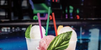 Boozy snow cones, from left: mojito, basil blueberry, apple bourbon. Plus: Pop Tart with mixed berry filling