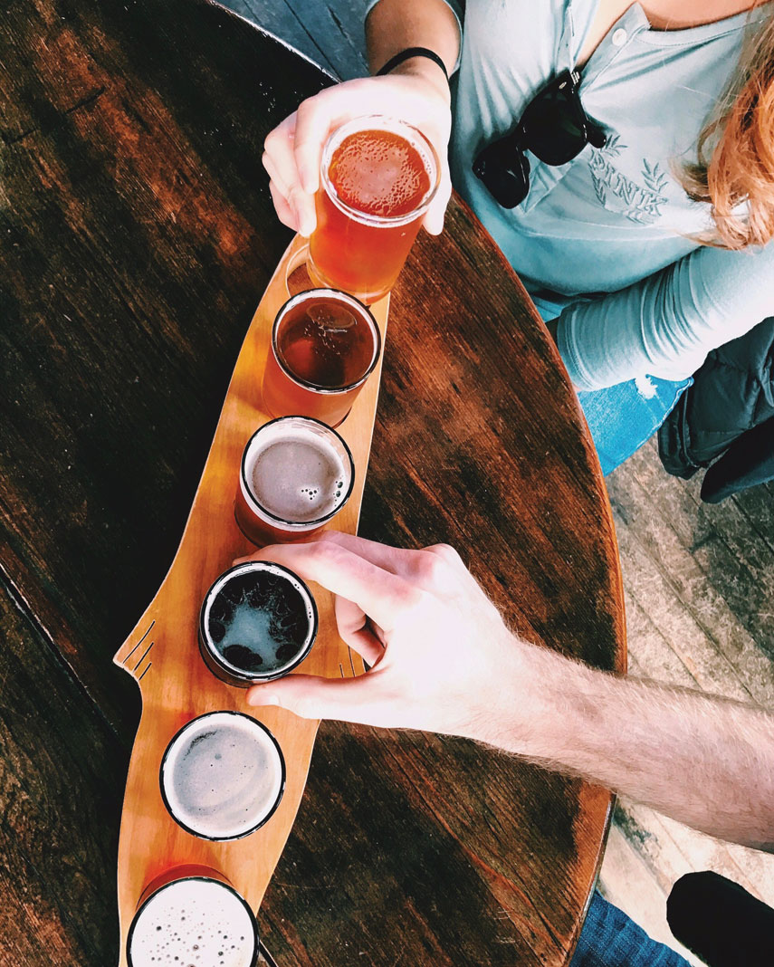 A flight of beers at Angry Minnow Brewing Co.