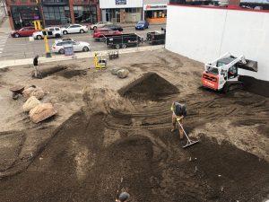 Skate-able Art Plaza under construction, April 18th, 2019.