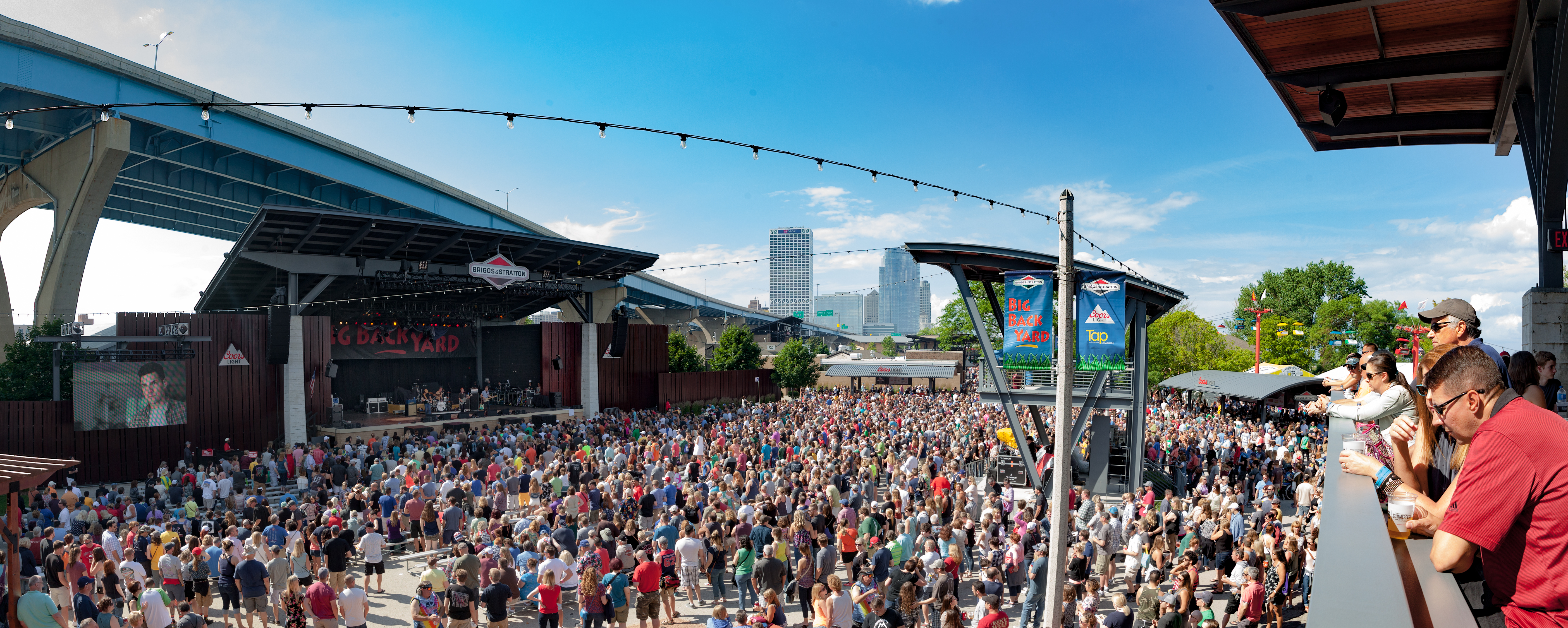 Crowds of people gather for an outdoor concert at Summerfest in Milwaukee, Wisconsin