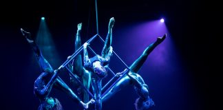 Acrobats from Circus Juventas performing.