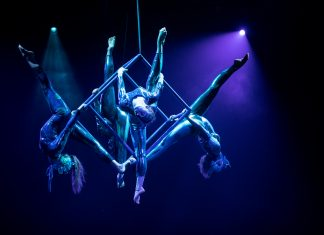 Acrobats from Circus Juventas performing.