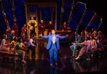 """Justin Keyes as Nicely-Nicely Johnson and Ensemble in """"Sit Down, You're Rocking the Boat"""" in Guys and Dolls"""
