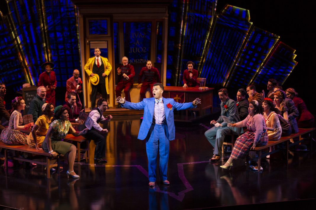 "Justin Keyes as Nicely-Nicely Johnson and Ensemble in ""Sit Down, You're Rocking the Boat"" in Guys and Dolls"