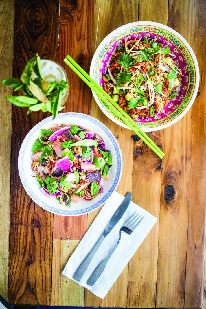 At Hai Hai: Banana Blossom Salad, Crispy Rice Salad, Next Up... cocktail