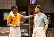 """John Earl Jelks and Andrew Veenstra as Montrellous and Jason, respectively, in the world premiere of Lynn Nottage's """"Floyd's"""" at the Guthrie."""