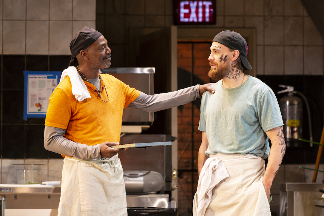 "John Earl Jelks and Andrew Veenstra as Montrellous and Jason, respectively, in the world premiere of Lynn Nottage's ""Floyd's"" at the Guthrie."