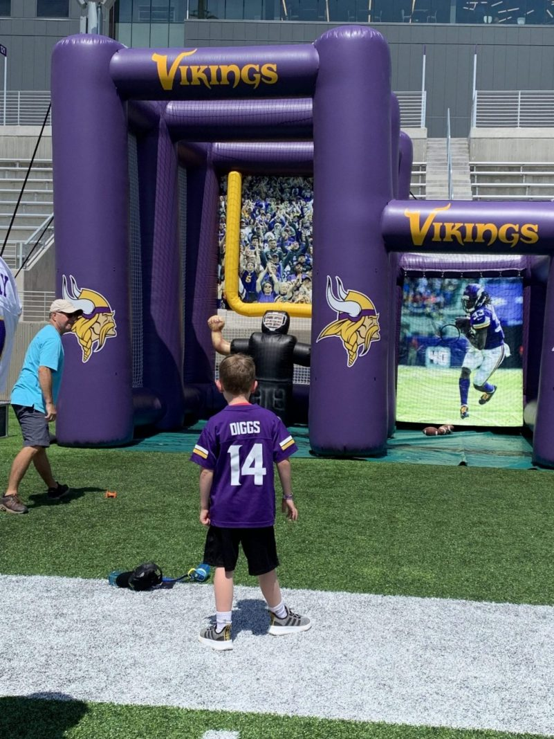 Inflatable field goal kick at the Vikings training camp