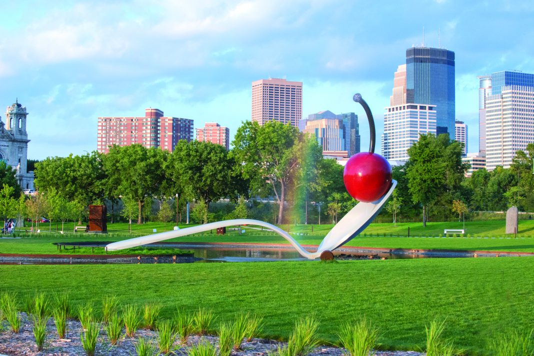 "Claes Oldenburg and Coosje van Bruggen Spoonbridge and Cherry 1985-1988 aluminum, stainless steel, paint 354 x 618 x 162"" overall Collection Walker Art Center, Minneapolis Gift of Frederick R. Weisman in honor of his parents, William and Mary Weisman, 1988 Art © Claes Oldenburg and Coosje van Bruggen"
