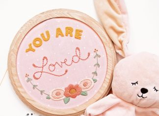 """You Are Loved"" is just one of the many felt embroidery designs in Meghan Thompson's how-to book. Photo by Christopher Thompson."