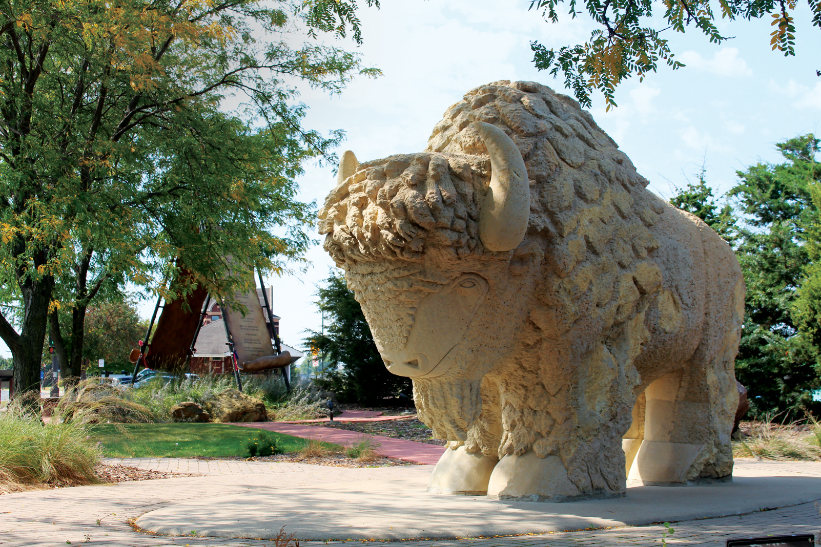 This bison carved from Kasota limestone stands in Mankato's Reconciliation Park in honor of the area's Dakota heritage