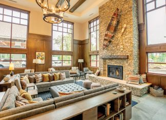 The modern, teeming-with-pillows lobby at Grand View Lodge's North