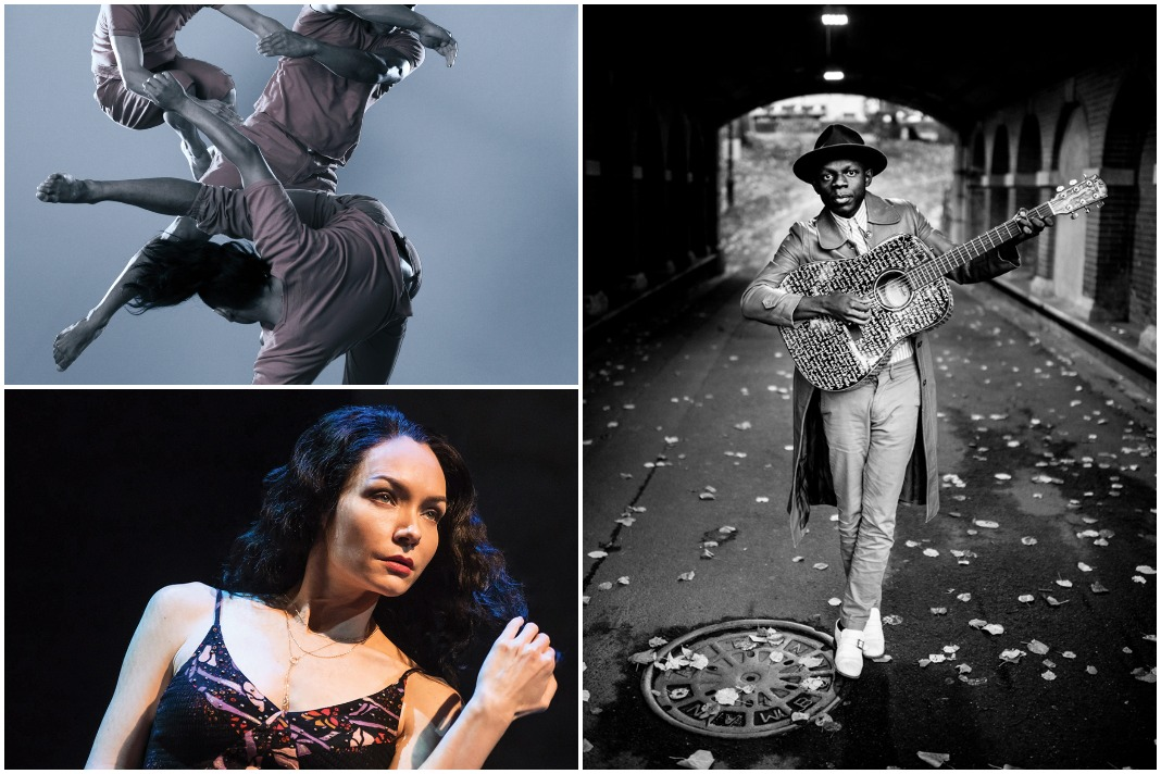 "Clockwise from upper left: Black Grave at Northrop, J.S. Ondara at First Avenue, ""The Band's Visit"" at Orpheum Theatre"