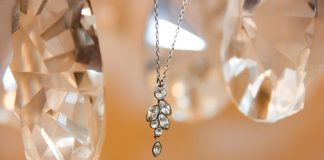 A diamond necklace hangs in the middle of crystal teardrops