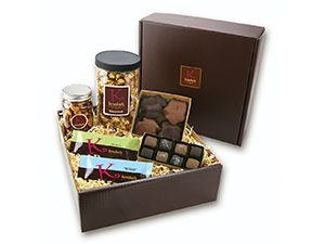 A box including a variety of chocolates and nuts