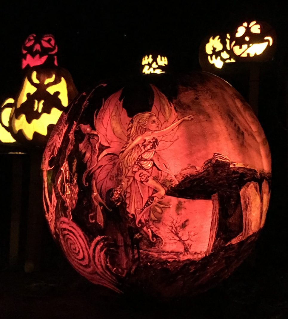 Many of the elaborately carved pumpkins had jack-o'-lanterns hidden within them. (Also: At the end of the trail, one pumpkin alluded to several characters that may or may not be hidden throughout, including Carmen Sandiego, Waldo, and Rick and Morty.)