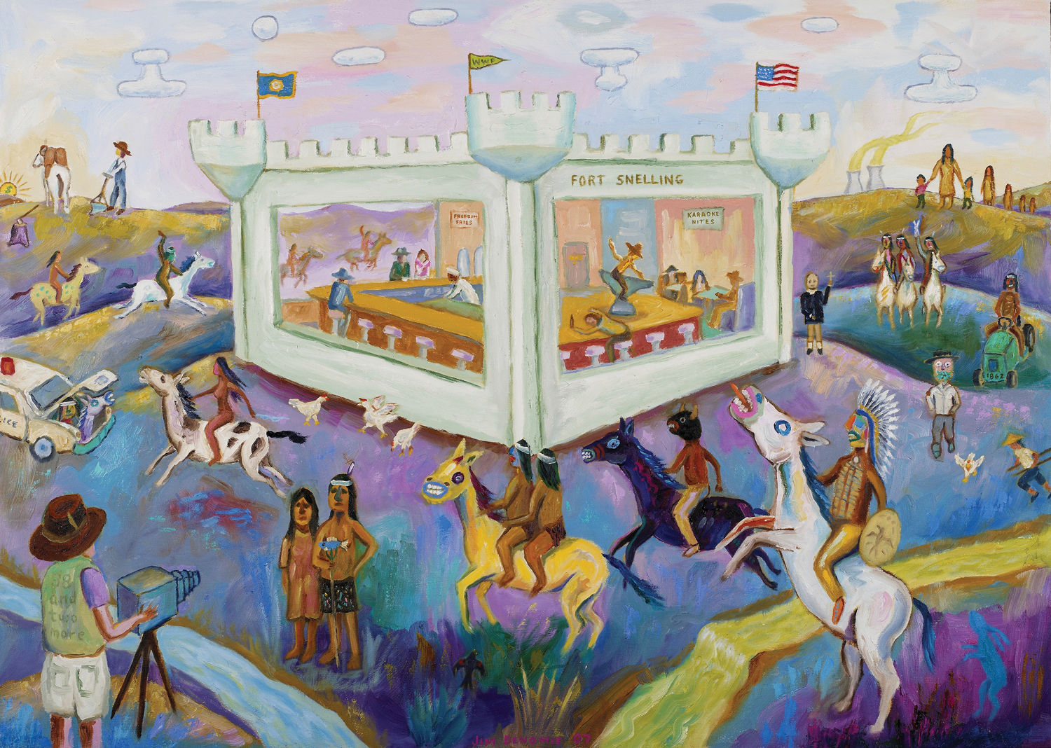 "Jim Denomie, ""Attack on Fort Snelling Bar and Grill,"" 2007"